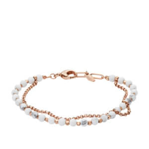 Bracelet Fossil Femme double rang perles blanches